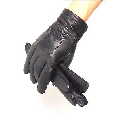 Women Autumn Winter Classic Leather Gloves Lambskin Mittens Driving Black