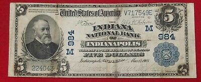 1902 $5 Indiana National Bank Indianapolis National Currency Banknote Fine