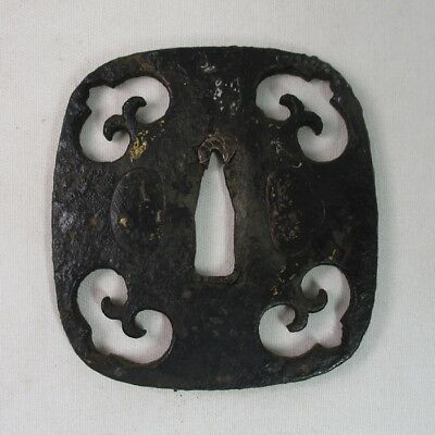A008: Real old Japanese iron SAMURAI square sword guard with good openwork