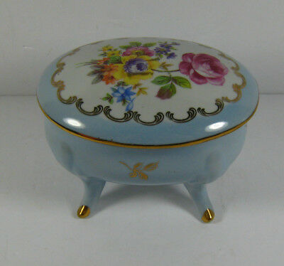 Vintage PM East Germany Porcelain Floral Footed Trinket Box with Lid