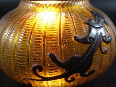 Large Old Chinese Peking Glass Made Bottle Vase Statue DOUBLE HORNLESS DRAGONS
