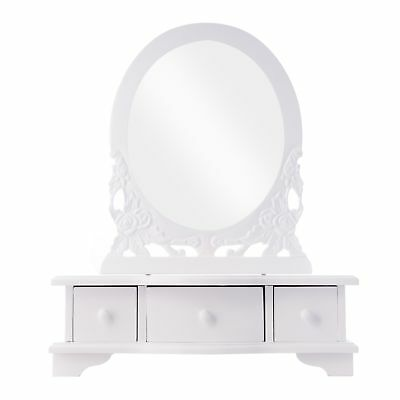 Vanity Cupboard Make-Up Table White Antique Wood NEW Mirror