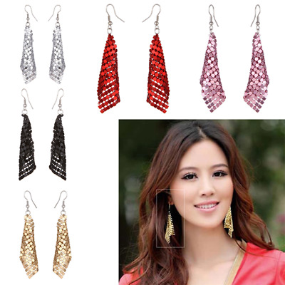 New Women Metal Geometry Tassel Earrings Long Hook Dangle Ear Stud Gift Jewelry