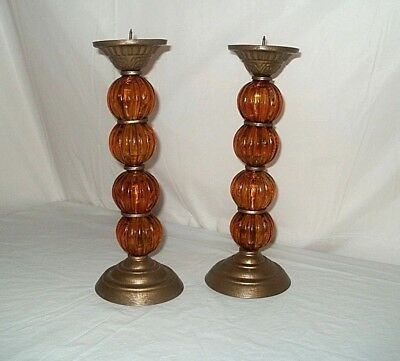 Rare Pair Of Light Amber Deco Glass Candle Sticks Holders