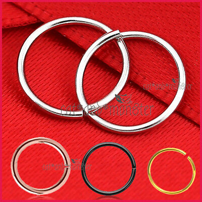 S925 Sterling Silver Nose Lip Ear Ring Sleeper Twist Bend Hoop Earring Piercing