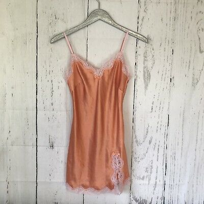 Victoria's Secret Orange Lace Slip Nightgown Lingerie Size Extra Small XS