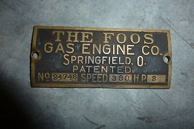Foos 3hp Hit Miss Antique Engine cast brass Name Plate