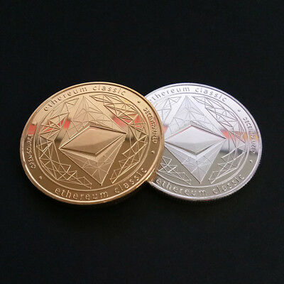 Gold Plated Iron Commemorative Collectible  ETH Ethereum Miner Coin Souvenir