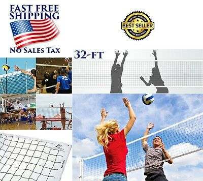 Volleyball Net Tournament Size 32FT Sport Outdoor Court Yard Beach + Cable Ropes