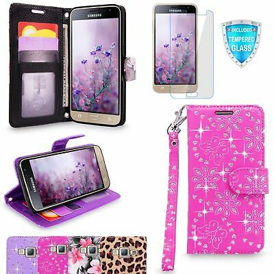 For Samsung Galaxy J3 2016 Wallet Flip Stand Leather Case Cover Tempered Glass