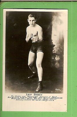 Boxing Fan Postcard / Photo Of Les Darcy