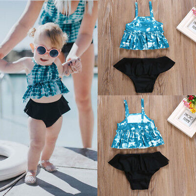 Toddler Kids Baby Girls Floral Tankini Swimwear Swimsuit Bikini Bathing Suit New