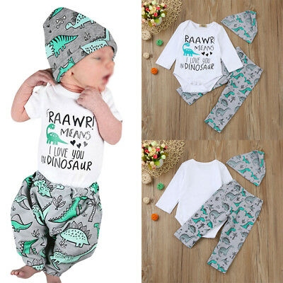 Newborn Baby Boy Unisex Top Romper Dinosaur Pants Hat 3Pcs Outfits Set Clothes