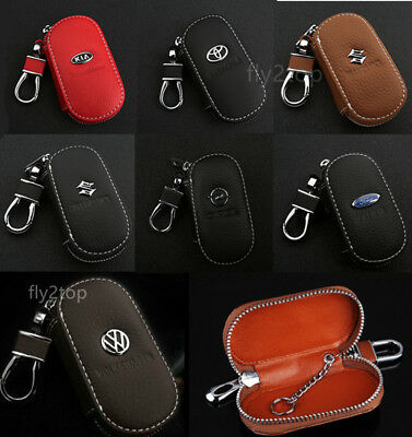 Leather Car logo Key Chain Case Remote Control Auto Keyfob Wallet Bag Holder UK