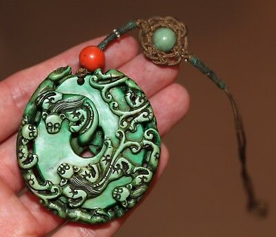 Antique Chinese Qing Dynasty carved Bi with 9 mythical beast pendant QING RARE