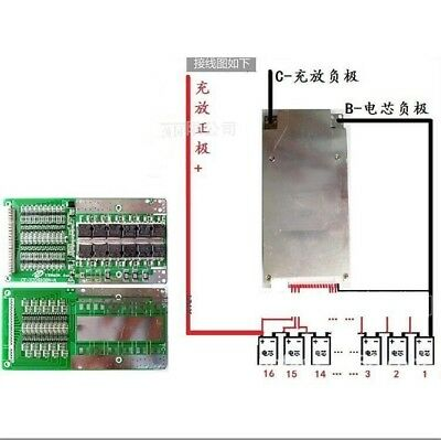 BMS PCB for 60V 16S 45A Li-ion Lipolymer Battery with Balance for ebike escooter