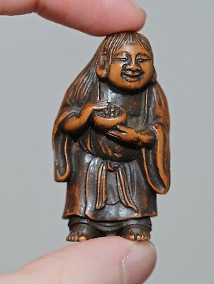 antique Japanese carved boxwood Netsuke of a Immortal, signed Furu, MEIJI, RARE