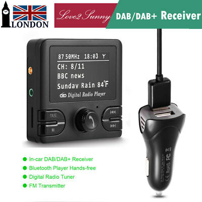 LCD Car DAB DAB+ Tuner Receiver FM Transmitter Adapter+Antenna AUX Plug&Play NEW