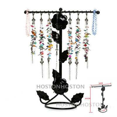 Metal Rose Floral Jewellery Necklace Display Stand Rack Holder 32 Hooks Hanger