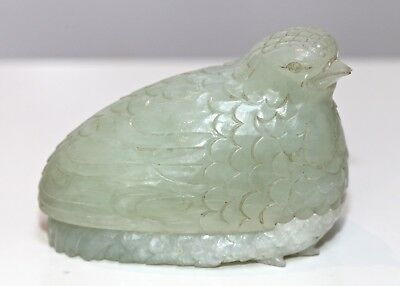 Antique Chinese fine carved Jadeite Quail treasure Box 19th century QING DYNASTY