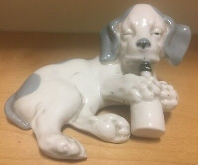 Whimsical Porcelain GEBRUDER HEUBACH Puppy w MILK (BABY) BOTTLE. RARE. MUST SEE!