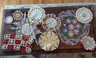 Beautiful Vintage Hand Crocheted  Colored Doilies- lot of 10 pcs.  #34