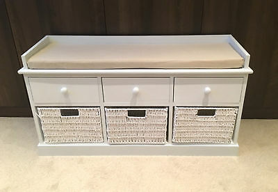 White Hallway Storage Bench Seat Shoe Cabinet With Drawers Wooden Home Furniture