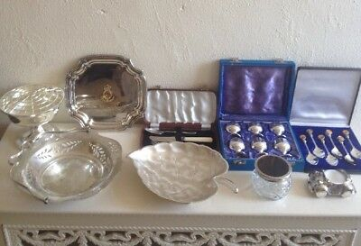 Job Lot Antique Vintage Silver Plated Large Bowl Cordial Glasses Teaspoons Tray