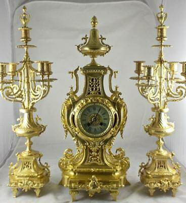 Antique XL French 19thc Japy Freres gt ormolu bronze mantle clock garniture set
