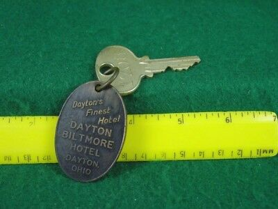 Antique Biltmore Hotel Room Key & Brass Fob - Dayton Ohio