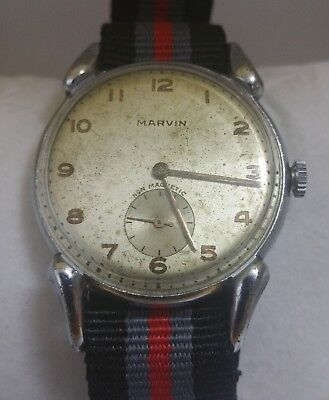 MARVIN MILITARY VINTAGE VERE RARE WATCH- ART DECO CASE- 1940s