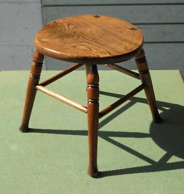 BEAUTIFUL COUNTRY RUSTIC ANTIQUE 18TH c SMALL ELM STOOL