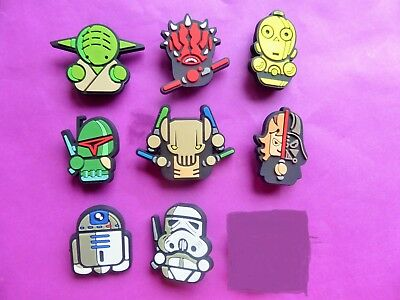 8 Star Wars Cartoon jibbitz crocs shoe charms wrist hair loom bands cake toppers