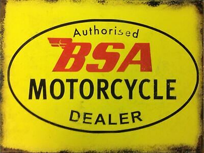 BSA Motorcycle Dealer Retro Metal Tin Sign Poster Plaque Garage Wall Decor A4