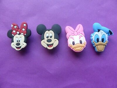 4 Mickey Minnie Mouse Donald Daisy Duck jibbitz croc shoe charms cake toppers