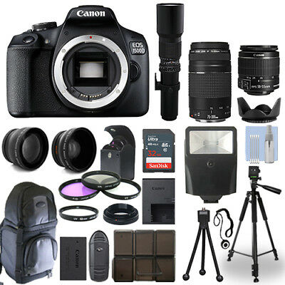 Canon EOS 1500D / T7 DSLR Camera + 5 Lens Kit: 18-55mm + 75-300mm + 500mm & More