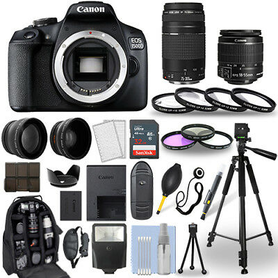 Canon EOS 1500D / Rebel T7 DSLR Camera + 18-55mm IS + 75-300mm + 30 Piece Bundle