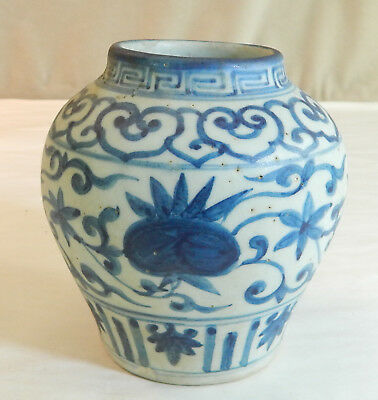 Chinese Blue and White Pottery Vase with Pomegranates & Flowers