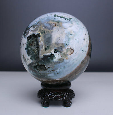 3.6 inch 2.3lb Natural Beautiful Ocean Jasper Ball+Free Stand From Madagascar79