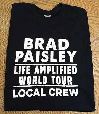 "New BRAD PAISLEY ""Life Amplified"" World Tour Local Crew Shirt Concert 2016 XL"