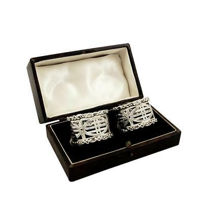 Pair Of Antique Sterling Silver Napkin Rings In Box - 1912