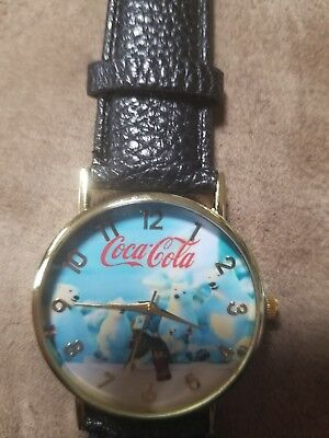Coca-Cola polar bears Black Wristband Watch with battery, very nice unisex