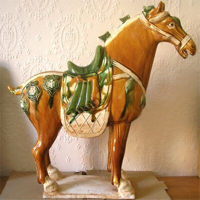 Vintage Chinese Tang Dynasty Style Sancai Glaze Large Horse Sculpture