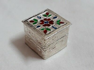 Handmade 92.5 Sterling Silver Enameled Clisonne Small Gift Pill Snuff Jar Box