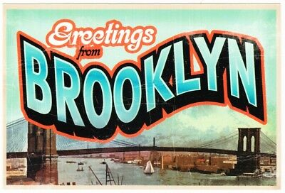 Greetings from Brooklyn New York Bridge Large Letter Chrome Postcard 2000s #2
