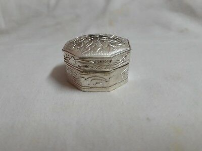 Handmade Carved 92.5 Sterling Silver Clisonne Small Gift Pill Snuff Jar Box