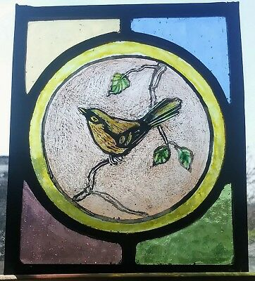 Stained Glass hand painted kiln fired traditional bird panel window fragment