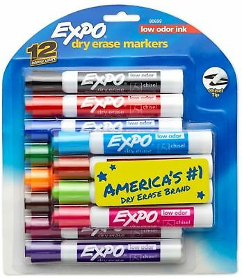 Expo Low-Odor Dry-Erase Markers, Chisel Point, Assorted Colors 12 ea (Pack of 5)