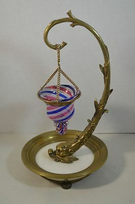 Antique French Empire Gilt Bronze, Glass and Marble Chamberstick Oil Lamp