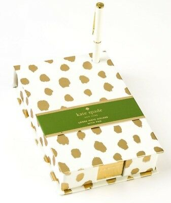 kate spade New York Loose Note Holder with Pen in Gold Flamingo Dot ~ Brand New